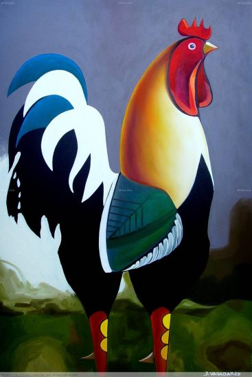 RoosterIV Oil Canvas Animals