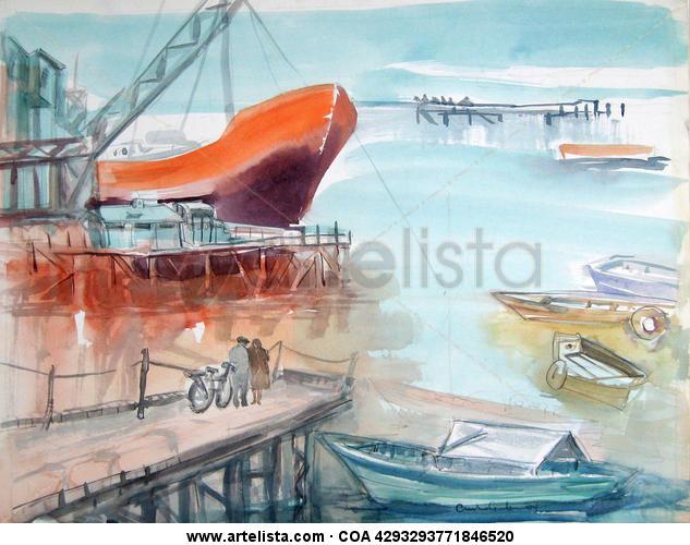Rosario, puerto en bruma Papel Acuarela Marina