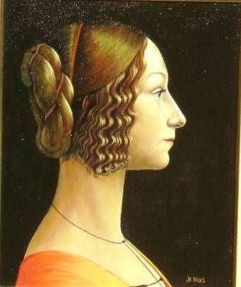 O outro perfil de Giovanna. Óleo Tabla Retrato