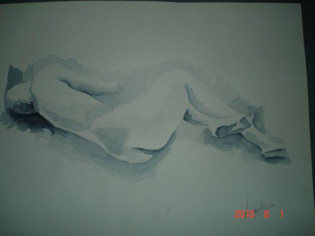 Mujer desnuda Acuarela Papel Desnudos