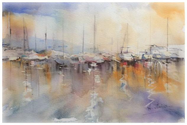 Barcos Papel Acuarela Marina