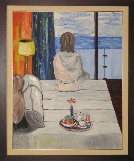 mujer mirando al mar Óleo Figura Lienzo