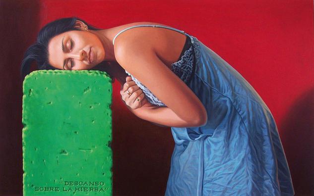 Descanso sobre la hierba Lienzo Óleo Retrato