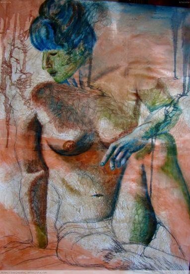 Tras luz Óleo Cartulina Desnudos
