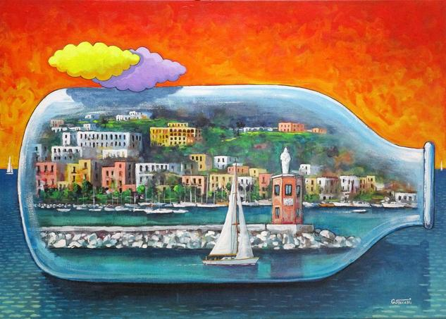 Casamicciola Ischia Tela Acrílico Marina