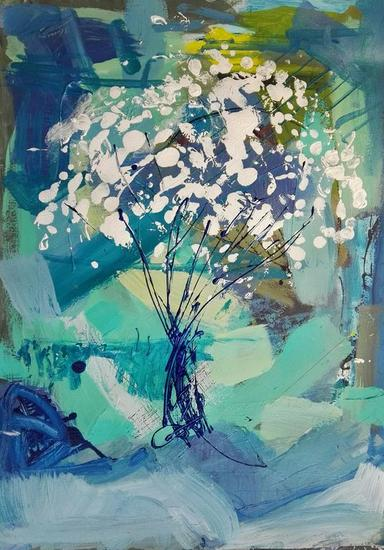SUPERPOSICIÓN 2 Acrílico Floral Papel