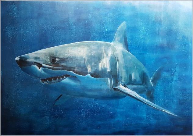 Tiburón blanco Lienzo Media Mixta Animales