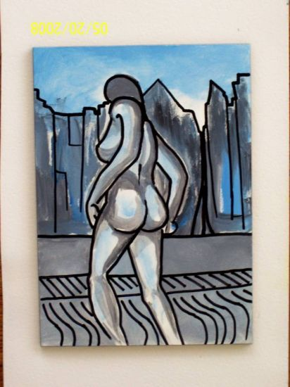 Woman walking naked on the city Lienzo Acrílico Desnudos