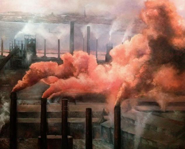 Smog industrial Lienzo Óleo Paisaje
