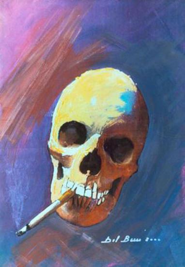 fumare  fa dimagrire.. Óleo Tela Figura