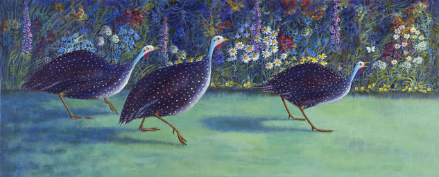 Guinea Fowl, Surprised! Canvas Acrylic Animals