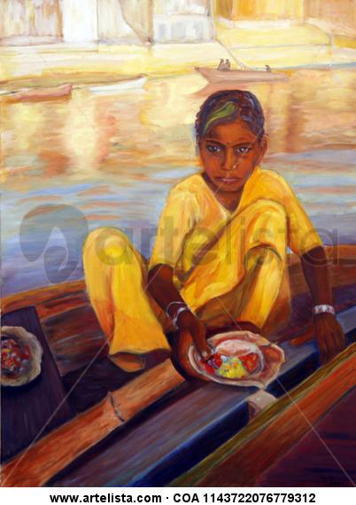 Una chica en el Ganges Retrato Óleo Lienzo