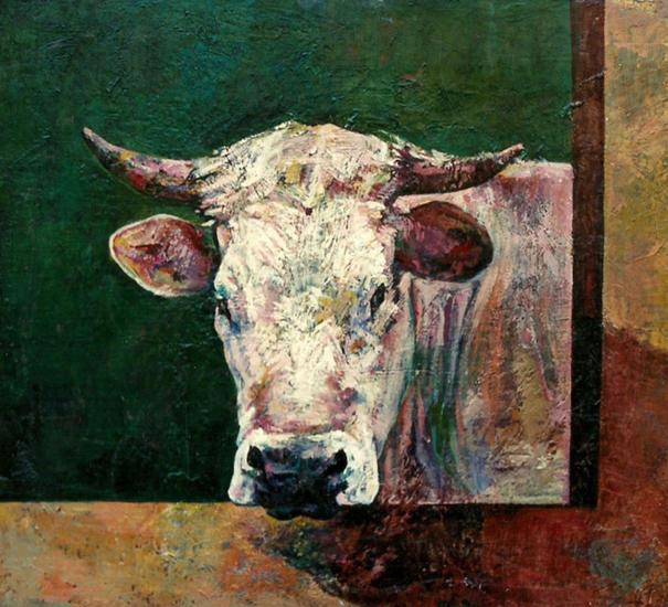 Vaca asomada en el establo jos mar a mart nez murillo - Cuadros de vacas ...