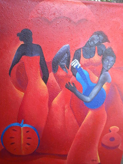 mujeres de rojo Figure Painting Canvas Acrylic