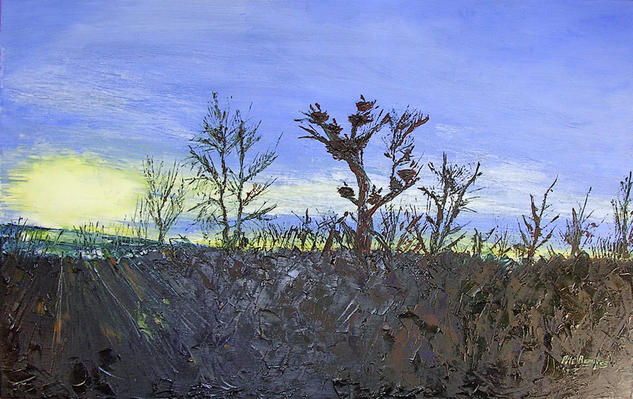 Amanecer en el camino Oil Landscaping Canvas