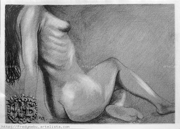 Desnudo femenino sentando Grafito