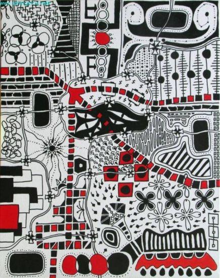 Universo en Blanco, Negro y Rojo Rotulador Lienzo Otros