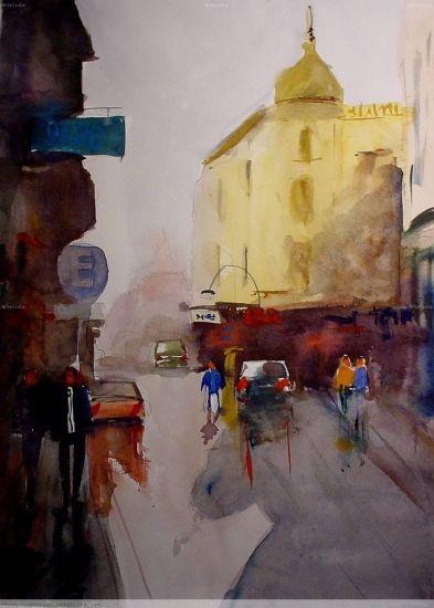 ciudad vieja en lluvia Acuarela Papel Paisaje