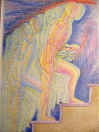 desnudo subiendo la escalera Lápiz