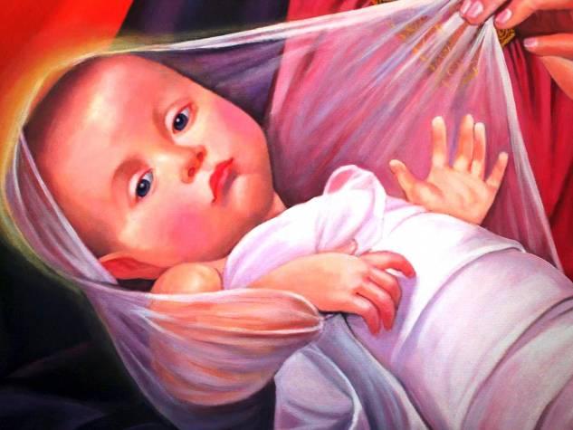 Detalle de la Virgen y el niño Oil Canvas Portrait