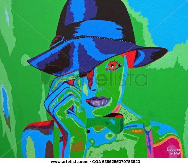 MUJER CON SOMBRERO Panel Acrylic Portrait
