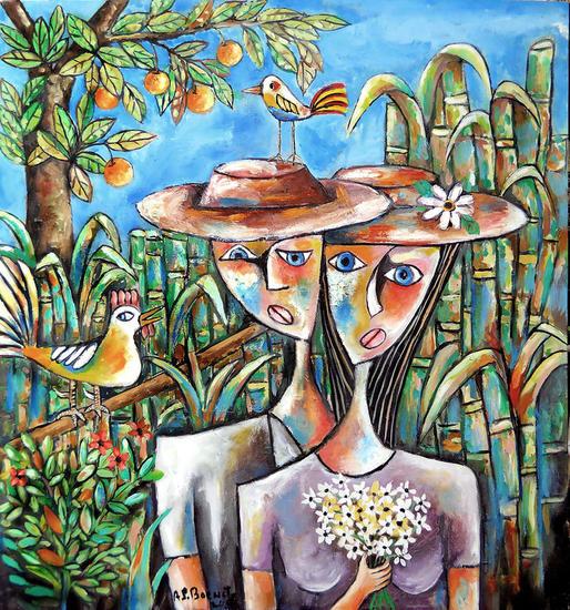 mujer con flores y sombrero