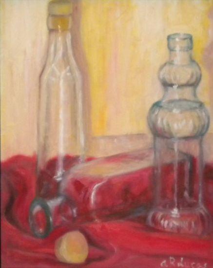 Tres botellas con tapón Óleo Lienzo Bodegones