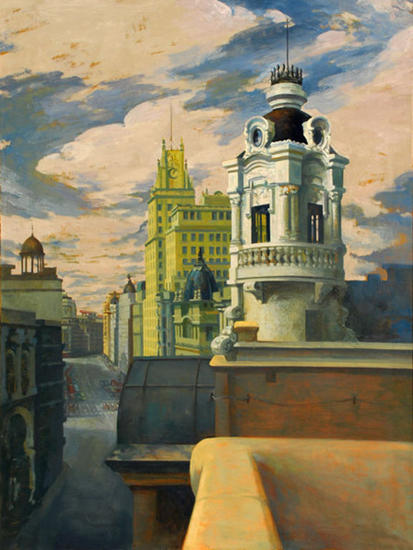 gran via de madrid Oil Canvas Landscaping