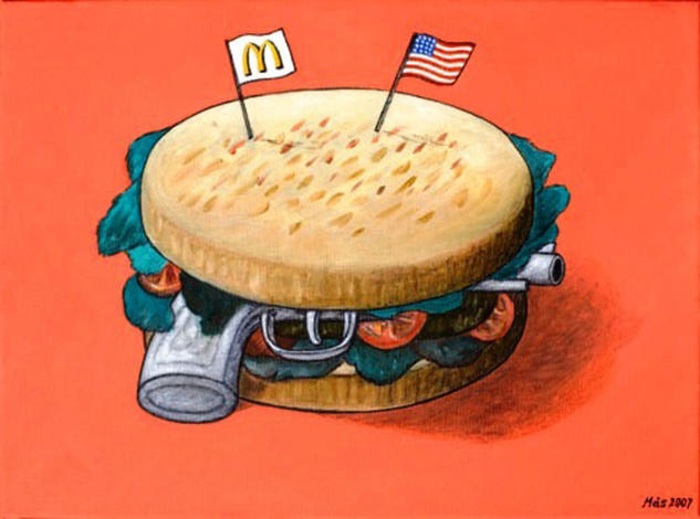 Hamburger Defense Oil Canvas Figure Painting