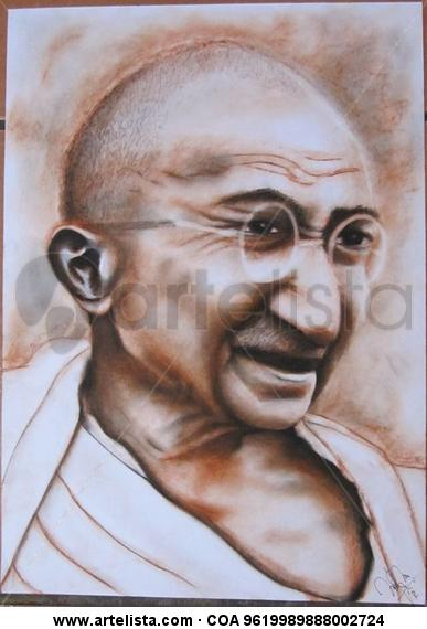 Gandhi Retrato Media Mixta Papel