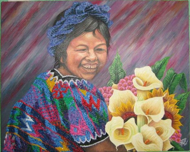 SONRISAS Oil Canvas Portrait