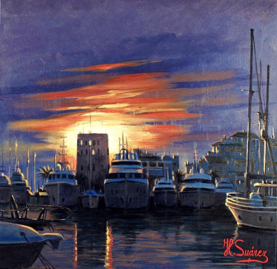 marbella.- puerto banus, puesta de sol