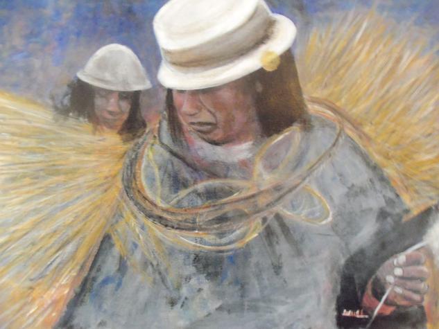 LABOR ENTRE PAJA Y LANA Canvas Oil Portrait