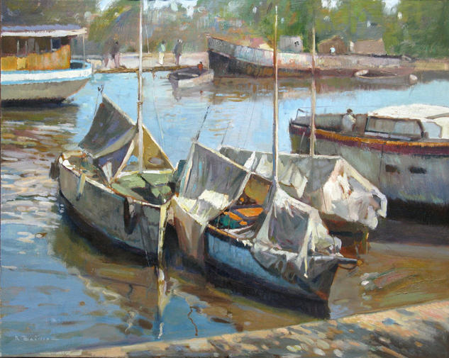 barcas en el tigre Panel Oil Marine Painting