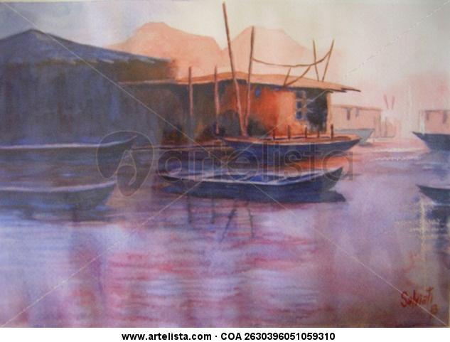 Barca Cartulina Acuarela Paisaje