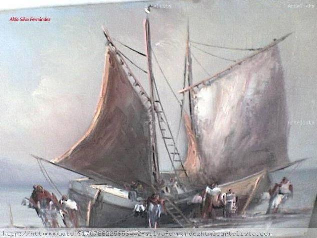 Caleta Angelmo - Puerto Montt Óleo Tabla Marina