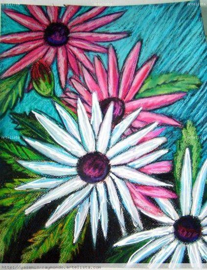 Four Daisies Papel Media Mixta Floral