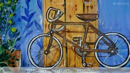 bicicleta. Paisaje Acrílico Lienzo