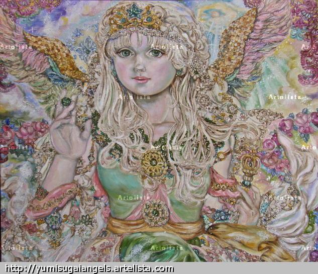 Yumi Sugai.An emerald angel.poster. Lienzo Óleo Figura