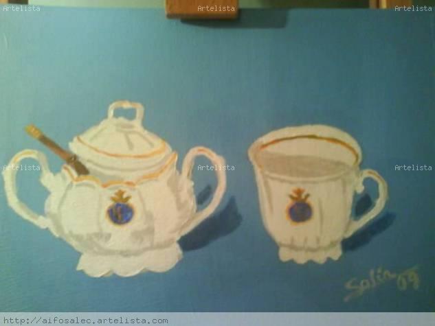 azucarero y taza Acrylic Canvas Still Life Paintings