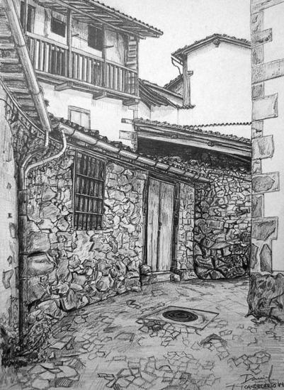 Calle de Candelario II Papel Grafito Paisaje