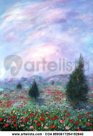 Soñando primaveras X Tabla Acrílico Paisaje