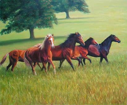 caballos al atardecer