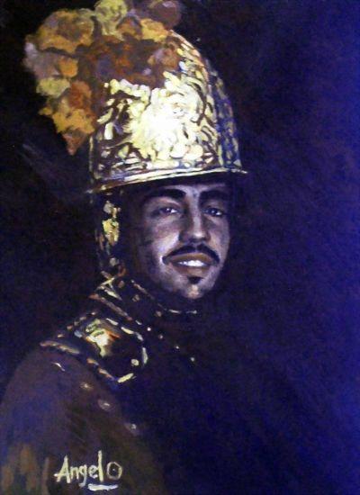 El Hombre del Casco de Oro. Óleo Lienzo Retrato