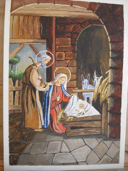 Natividad Card Oil Figure Painting
