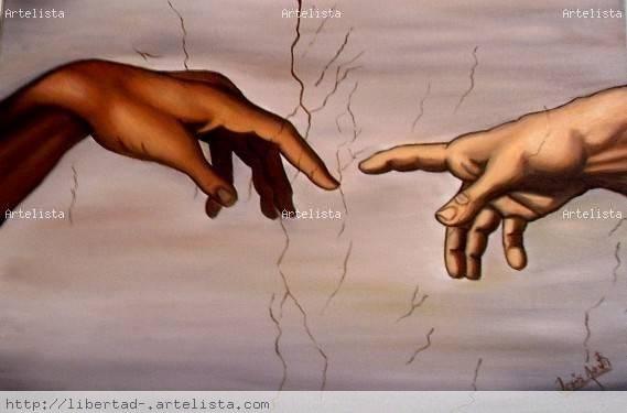 las manos de la creacion Lienzo Óleo Figura