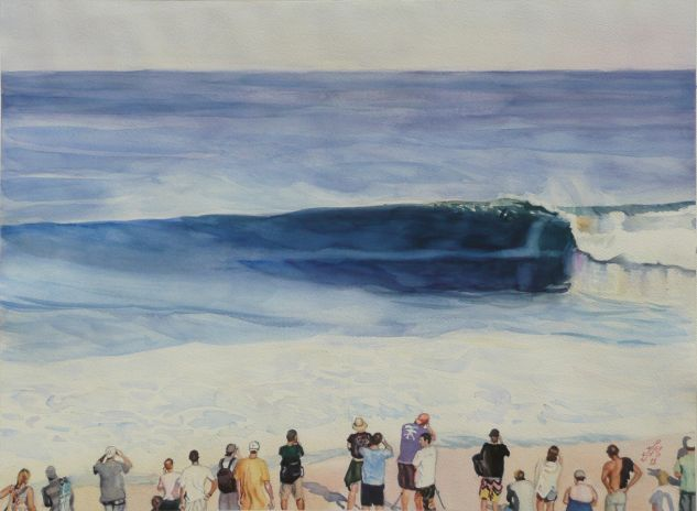 El campeonato de surf Watercolour Paper Marine Painting