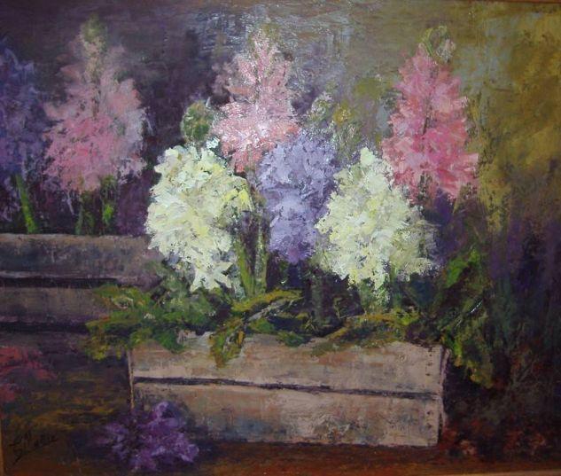 Jacintos Óleo Tabla Floral