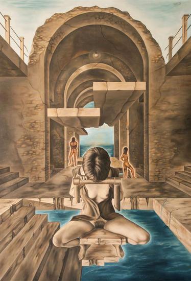 El castillo encantado Lienzo Óleo Desnudos