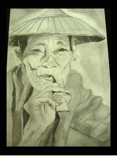 Chinese grandpa with pipe Papel Lápiz (Negro) Retrato